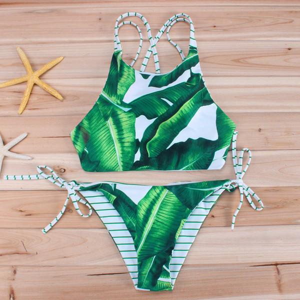 New Sex Women Bikini swimwear 2 Piece bikini Leaves Print Swimsuit Fashion Style Bikini Top + Low Waist Swim Trunks
