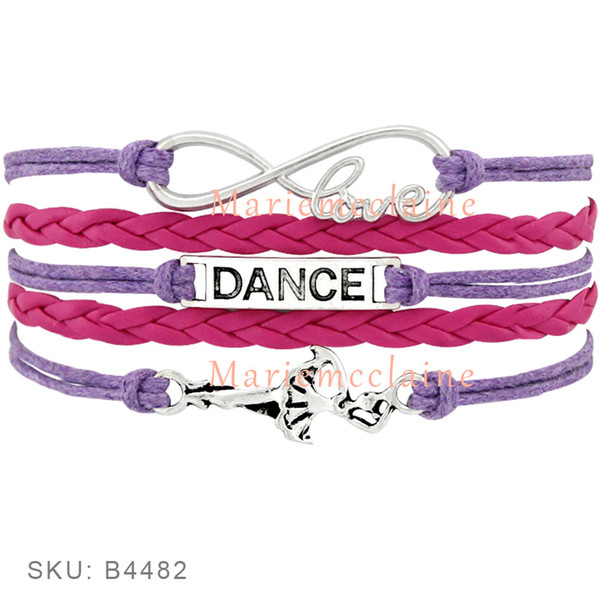 Custom -Infinity Love Dance Wrap Bracelet Gift For Dancer Dancing Bracelet Blue Pink Red Purple Leather Suede Custom Any Themes