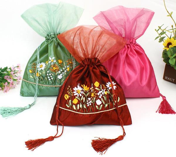 Ribbon embroidery Organza Tassel Gift Bag Candy Tea Favor Pouch Satin Fabric Drawstring lavender Jewelry Storage Pocket 10pcs