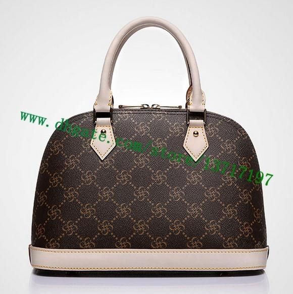Lady Top Handle Real Leather Brown Monno Brown Plaid Canvas Coated Handbag M40878 N41247 Allma Women Cosmetic Bag