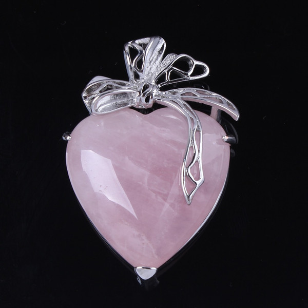 Trendy-beads Elegant Style Sier Plated Natural Rose Pink Quartz Love Heart With Silk Ribbon Pendant Fashion Jewelry