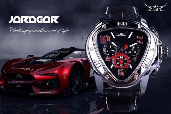 Jaragar Spor Yarış Tasarım Geometrik Üçgen Tasarım Hakiki Deri Kayış Mens Saatler Üst Marka Lüks Otomatik Bilek İzle