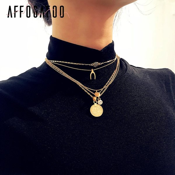 Affogatoo Round coin multilayer statement accessories Gold necklace flash drill fine jewelry Chic women clothing accessories