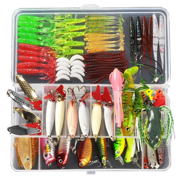 ALLBLUE Fishing Lure Minnow/Popper/Wobbler Spoon Metal Lure Soft Bait Fishing Lure Kit Isca Artificial Mixed Color/Style/Weight Y1890402