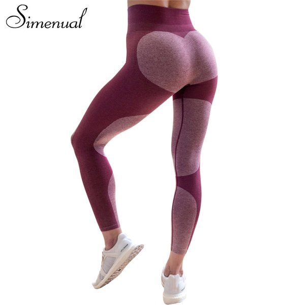 Simenual 2018 Push up pattern heart legging women athleisure slim pants sexy bodybuilding high waist leggings for fitness saleY1882501