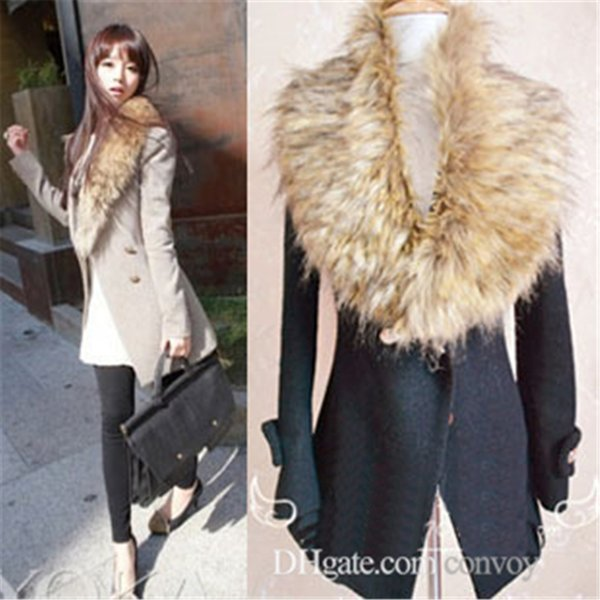 New Fashion Womens Solid Winter Scarf Fox Fur Collar Shawls Ladies Rabbit Raccoon Fur Article Fake Warm Scarves Shawls WT25