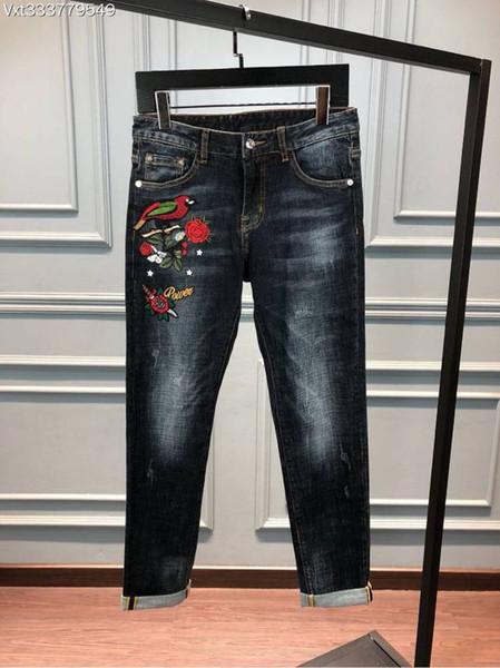 WRD08393BH Latest Men's Jeans 2018 Luxury Designer Brands Fancy Europe Style men fashion