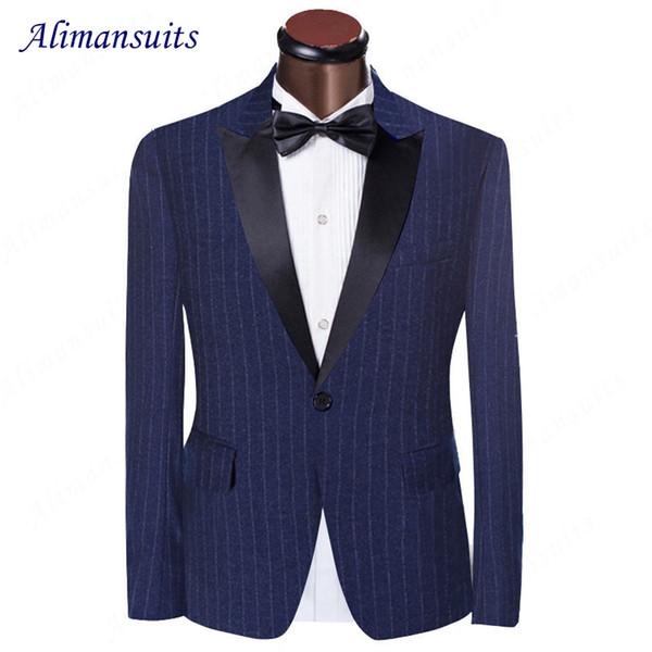 Abito blu gessato smoking con risvolto con risvolto groomsman con risvolto abito da sposa con un bottone in lana pettinata 2017 vestito da uomo (giacca + pantaloni)