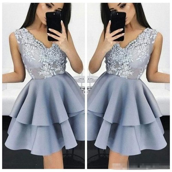 c7f185f92eca9a V-Neck Lace Appliques Top A-Line Homecoming Dresses Tiered Formal Special  Occasion Prom