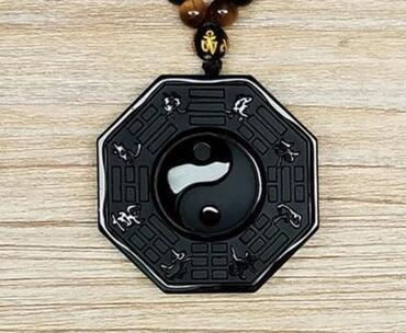 100% natural obsidian hand carved yin and yang gossip lucky pendant