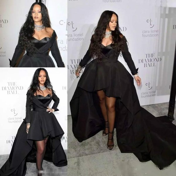 2019 Rihanna Prom Dresses V Neck Long Sleeve High Low Formal Dress With Long Train Black Satin Celebrity Evening Gowns For Special Occasion