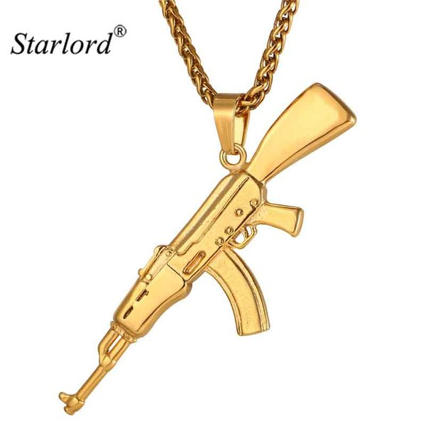 ecklace fashion Fashion Cool AK47 Assault Rifle Pendant & Necklace European Hip Hop Jewelry Stainless Steel Gold Color Chain For Men ...