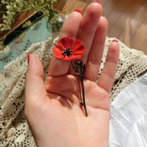 Vintage Collar Pins For Pins Men Suit Accessories Fashion Men Jewelry Brooches Red Poppy Flower Brooch