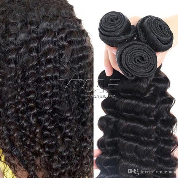 Indian Deep Wave Virgin Color natural del cabello humano 10 a 18 pulgadas 100g / piece 3 piezas Cabello humano sin procesar Wave VMAE Hair