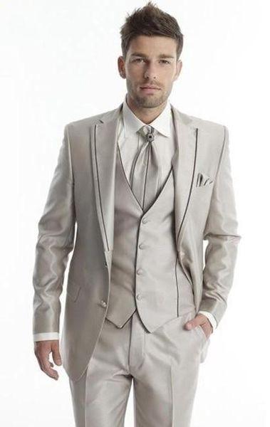 Wholesale- 2016 Groom Tuxedos Light Champagne Groomsmen Notch Lapel Wedding/Dinner Suits Best Man Bridegroom (Jacket+Pants+Tie+Vest) B583