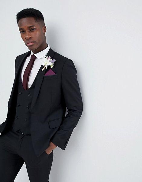 Hot Sale Black Mens Suits Slim Fit Custom Made Groomsmen Wedding Tuxedos For Men Blazers Notched Lapel Prom Suit (Jacket+Vest+Pants)