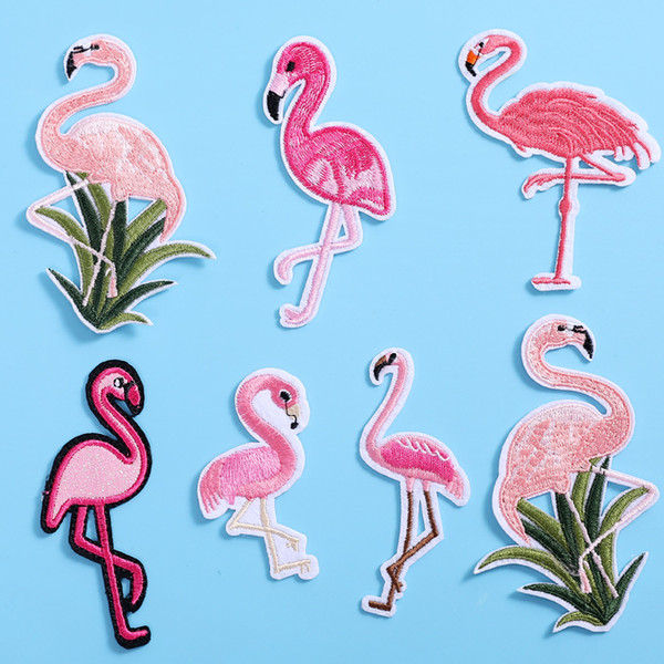 Flamingo Applique Embroidery Patch For DIY Clothing Clothes Sew-On Iron-On Sewing Sticker Clothes Decoration 7 Styles H476Q