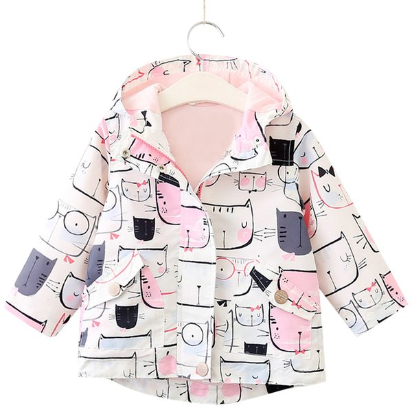 Ropa para niños Chaqueta 2018 Primavera Otoño Ropa para niñas Patrón de gato Con capucha Ropa para niños 3-7Y Abrigos para bebés Ropa de abrigo