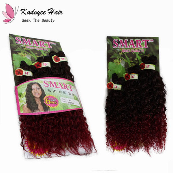 """14"""" 16"""" 18"""" 6pcs LOT Synthetic Braiding sew in hair weave extension jerry curl Ombre crochet freetress braids for full head"""