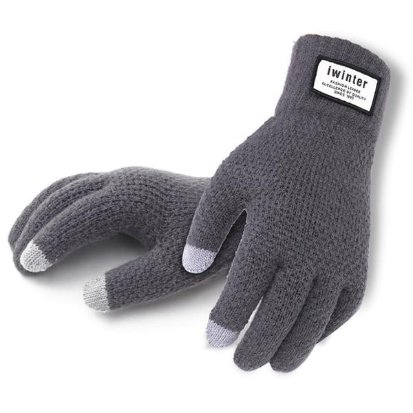 Winter Herbst Männer Gestrickte Handschuhe Touchscreen Hohe Qualität Männlich Verdicken Warme Wolle Cashmere Solide Handschuhe Männer Handschuh Geschäft