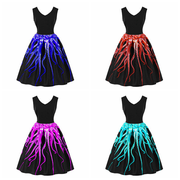 Ladies Elegant Octopus Printed V Neck Swing Dress Housewife Party Pinup A  Line Sleeveless Dress Summer Girls Plus Size Sundress Spring Dresses Junior  ...