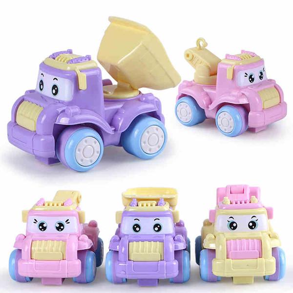 3PCS / Lot Baby Toys Mini Construction Vehicle Cars- Montacargas, Bulldozer, Road Roller, Excavadora, Camión volquete, Tractor Toys para niño