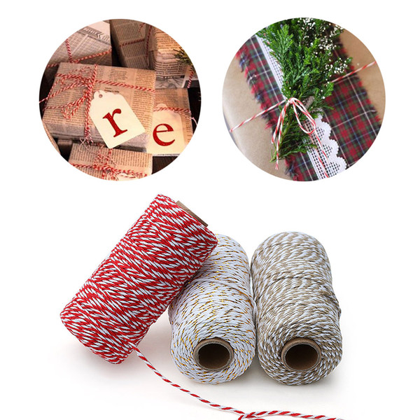 top popular 1 Roll 100 Metres 2mm Cotton Bakers Twine String Cord Rope Rustic Country Craft Handmade Christmas Gift Home Decor Supplies 2021
