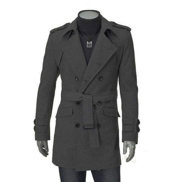 30e37b508f8 2018 New Autumn Winter Wool Coat Men Fashion Turn-down Collar Wool Blend  Double Breasted Jacket Overcoats With Belt Sashes6Q2207