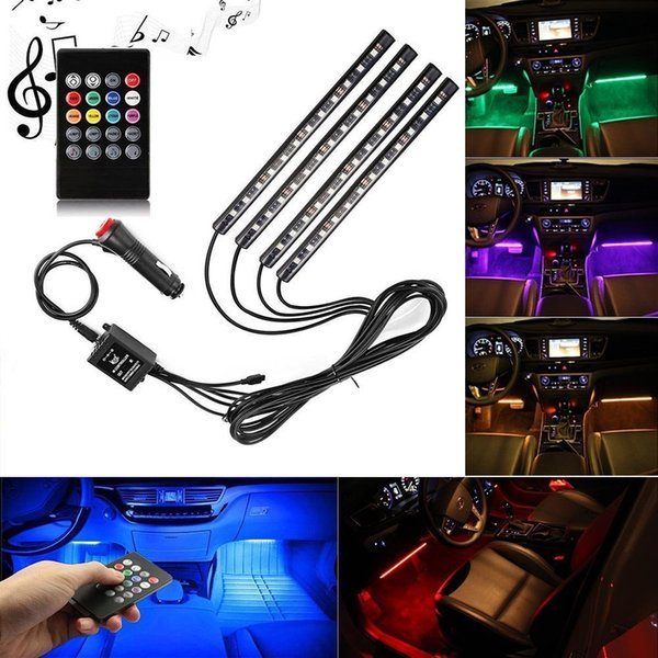 Tira de luz LED RGB para coche Luces de tira RGB 8 colores de coche Lámparas de atmósfera decorativa Luz interior de coche con control remoto