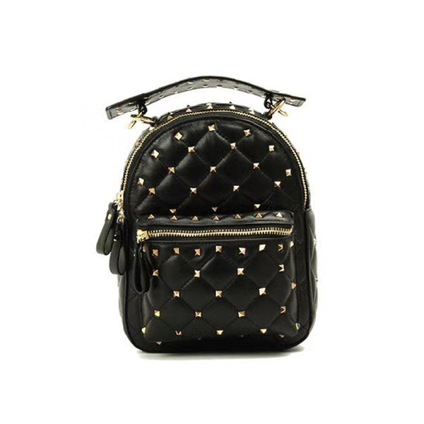 b4d1f1f9f6ed 2018 New Fashion women Real Sheepski rivet Backpacks luxury women bags  designer chain leather Shoulder Bags