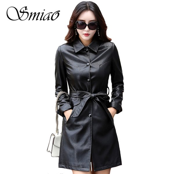 Smiao 2018 Plus Size Autumn Winter Black Leather Jackets Women Female Long Women's Coats Slim PU Leather Outerwear Belt 4XL