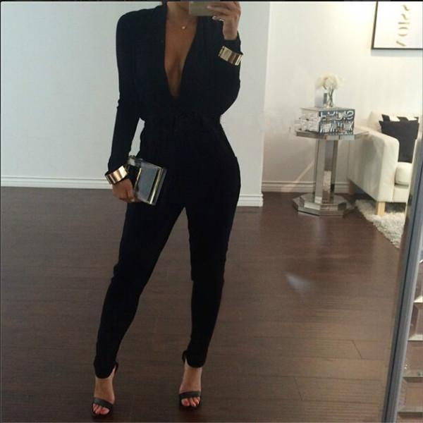 Sexy V Neck Jumpsuit Women Fashion Black Bodysuit Party Long Sleeve Overalls For Women Rompers Womens Jumpsuit Female lxy157