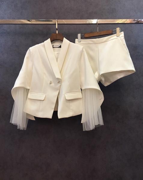 2018 automne et hiver nouveau style fil filé, manches décoratives, manteau pur + pantalon court, costume de couleur pure0928