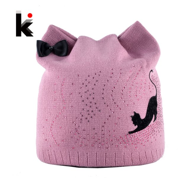 Winter Beanie Hat With Ear Flaps For Women Black Cat Diamond Bow-knot Knitted Beanies Skullies Cap Ladies Touca Inverno Feminina S18101708