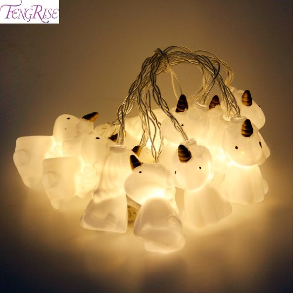 FENGRISE 10 Unicorn Head LED Lights String Christmas Ornaments New Year Gifts Christmas Home Decor Halloween Party Supplies D18110802