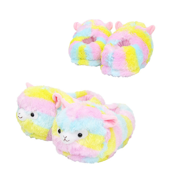 28cm Llama Arpakasso Plush Slippers Girls Rainbow Alpaca Full heel Soft Warm Household Winter flip flop for big children Home Shoes AAA1005