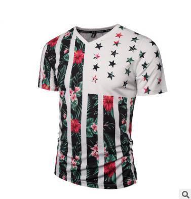2018 yaz erkek tasarımcı t shirt Yeni V Yaka slim fit tees Bitki Çiçek Baskı 3D T-shirt Eğilim moda tops giyim