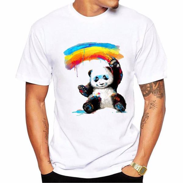 Yaz Kollu T Gömlek Moda O-Boyun Gökkuşağı Panda Kısa Kollu Tall T Gömlek Erkekler Için