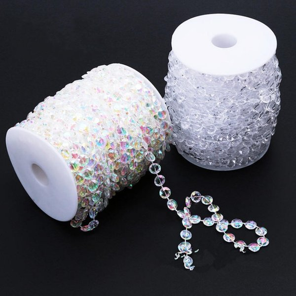 99FT Garland Diamond Strand Clear Acrylic Crystal 10mm Beads Chain Hanging Diamond Chandelier DIY Wedding supplies Party Table Decoration