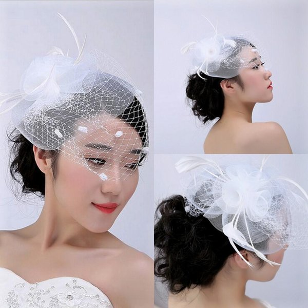 White Face Veil Cheap Bridal Hats 2019 Vintage Bridal Accessories With Tulle Feather Cute Small Hat For Brides headwear New For Christmas