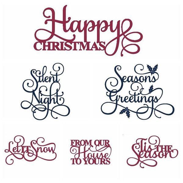 Christmas Words.2019 Merry Christmas Words Metal Cutting Dies Stencil For Diy Scrapbooking Photo Card From Snoopy710 5 3 Dhgate Com