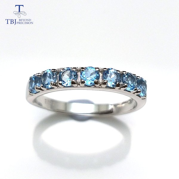 TBJ, Verlobungs-Ehering mit natürlichen blauen Topas Round3.0mm Marke Schmuck in 925 Sterling Silber, beste Geschenk für Frauen Mädchen
