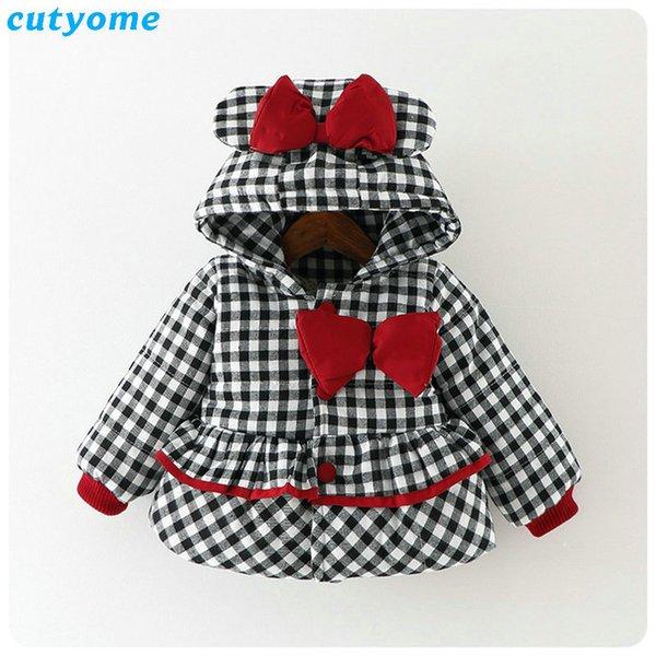 Cutyome Neugeborenen Baby Outwear Mäntel Mit Kapuze Plaid Mit Bogen Baumwolle Winter Jacken Kinder Infant Gepolsterte Dicke Jacke Kleidung