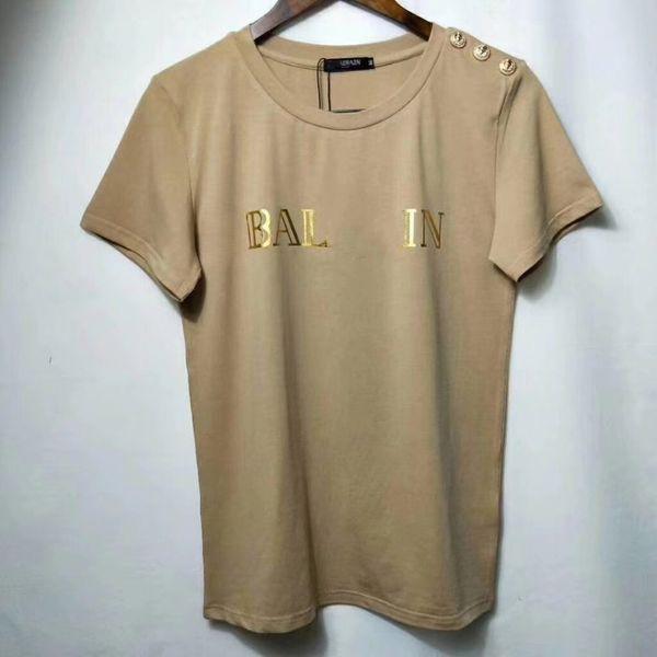 Diseñador de la marca Mujeres Carta Imprimir Camisetas 2018 Estilo de moda Oro León Botón Algodón Casual Tees Tops