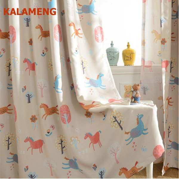 Children Cartoon Boys and Girls Bedroom Curtains Kids Living Room Cute Horse Print Tulle Curtain Window Curtains Drapes WB0347