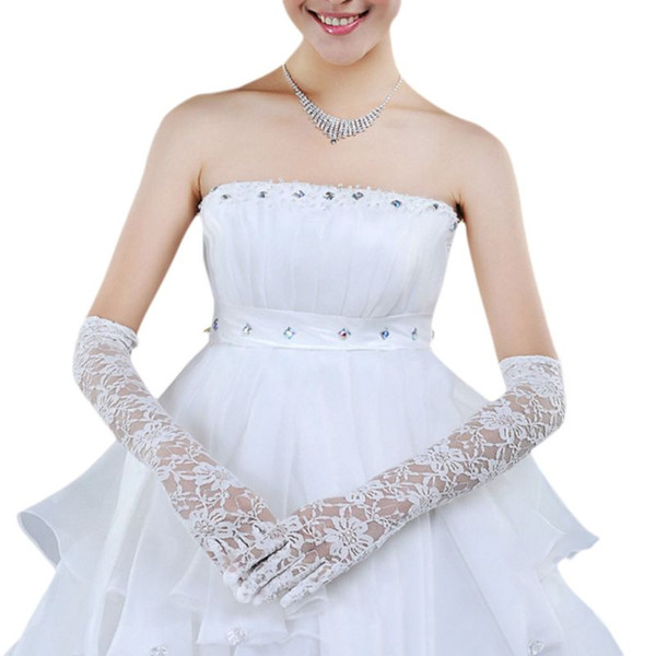 1 Pair Bridal Women White Wedding Long Gloves Elbow Length Fingered Full Floral Lace See Through Mittens Formal Party Accessorie