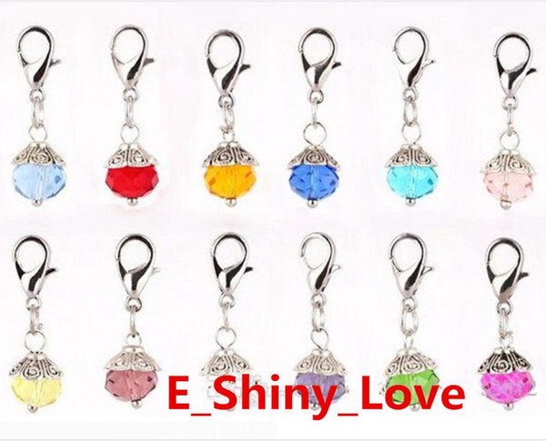 100PCS/lot Mixed Colors Crystal Birthstone Dangles Birthday Stone Pendant Charms Beads With Lobster Clasp Fit For Floating Locket FD132