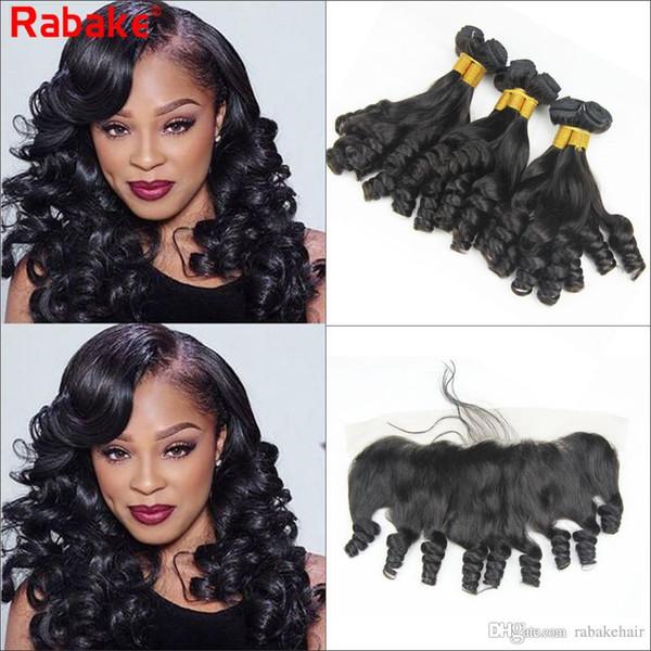 Paquetes de cabello de Malasia con tía frontal Funmi Curl 100% sin procesar Paquete de cabello humano virgen Ofertas 13x4 Nudos blanqueados Cierres frontales