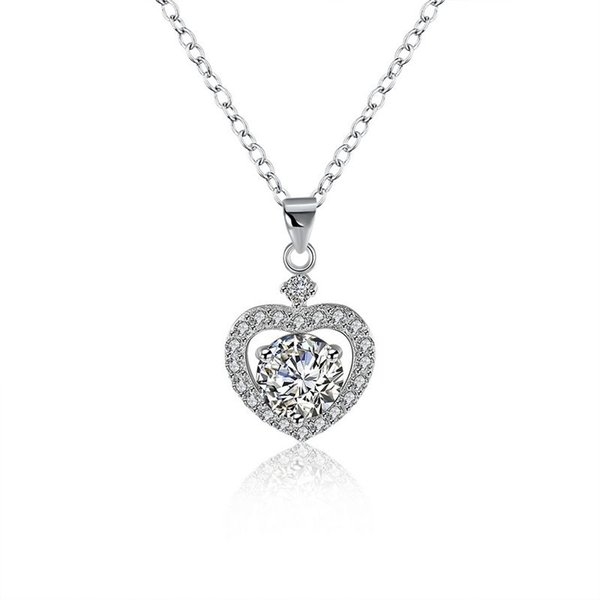 Sterling Silver 925 Necklace Lady Party Jewelry Pure Silver Heart Crystal Pendant Necklace Free Shipping n106