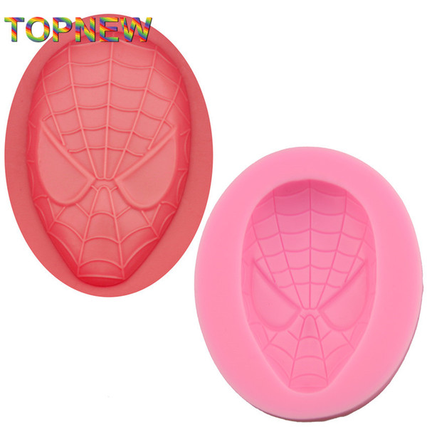 Top New Arrived Spider Man Face Shaped 3D Silicone Mold Sugarcraft Soap Molds for Cake Decorating Baking Tools C3034